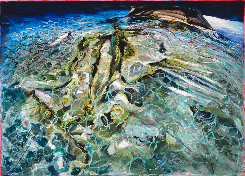 To Cross This Sea Was Not My Plan, oil on canvas, 165x230 cm.Photo Angelo Plantamura