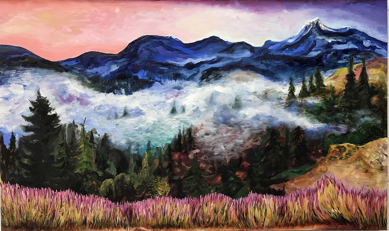 During Dusk , Courchevel, oil on canvas, 120x200 cm.