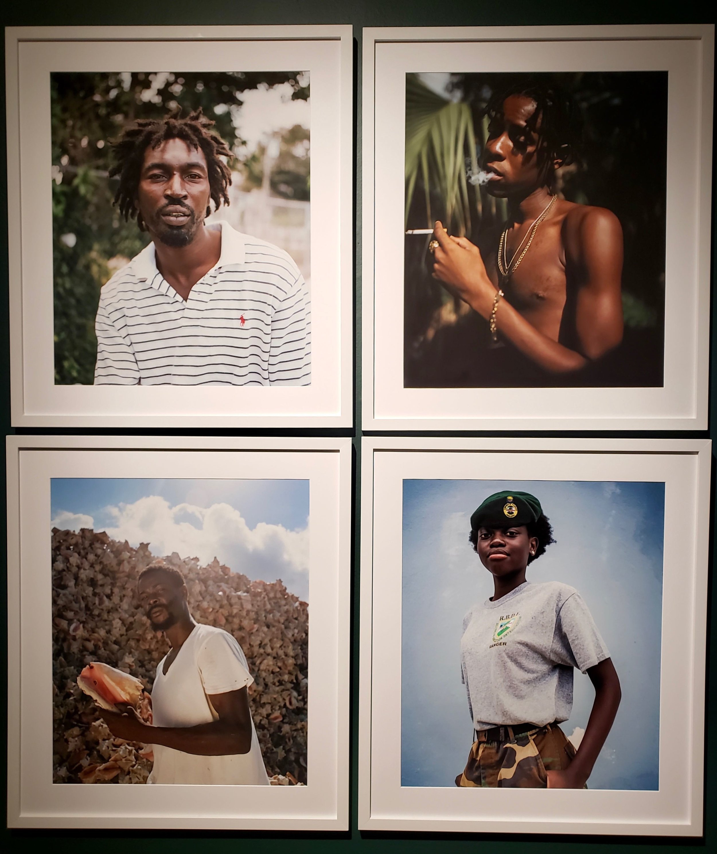 Clockwise from top: Tony from Bain Town, Cassell, Shannon Johnson, Defense Force Ranger.  NE9 Exhibition | National Art Gallery of The Bahamas.
