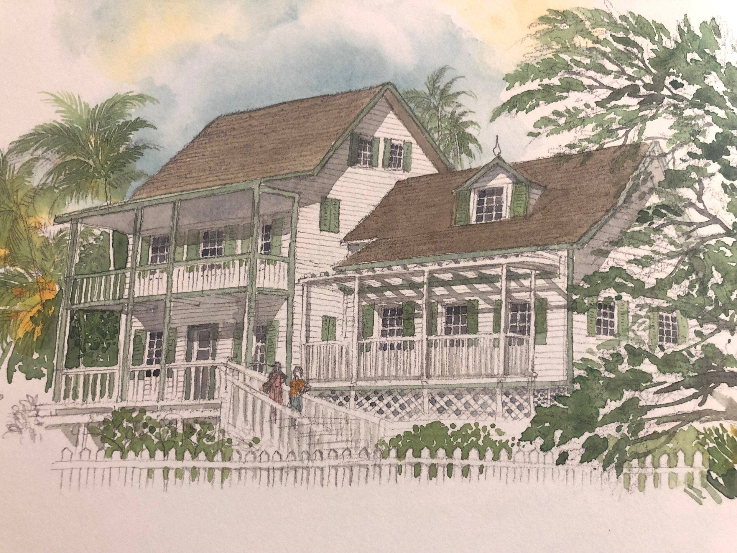 The Wyannie Malone Historical Museum. Image from Bahamas Sketchbook.