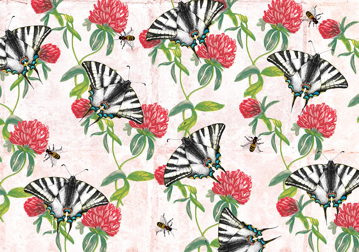 TEA TOWEL clover and butterflys.jpg