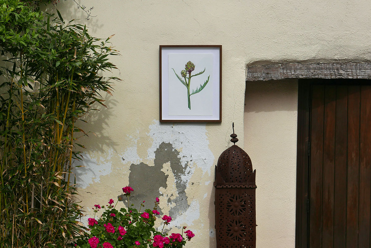 Artichoke print framed outside.jpg