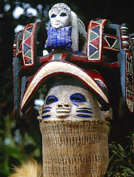 Oro Efe mask performing during Yoruba Gelede masquerades.  Image:Carol Beckwith and Angela Fisher