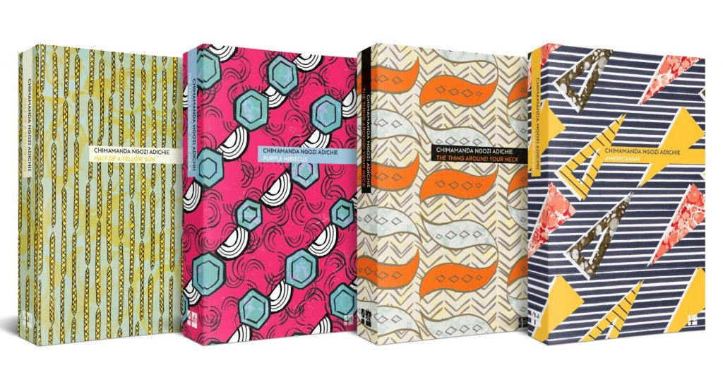 Nigerian wax (anakara) inspired covers of 4 of 6  Chimamanda Ngozi Adichie  titles. Image:  4th Estate .