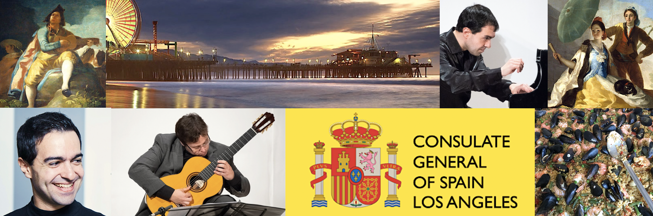 Goyescas by the sea banner. clockwise from bottom left: josè menor; painting of man with guitar, shot of santa monica pier at sunset; mr. menor playing piano; painting of couple with cat and umbrella; paella; consulate general of spain los angeles logo.