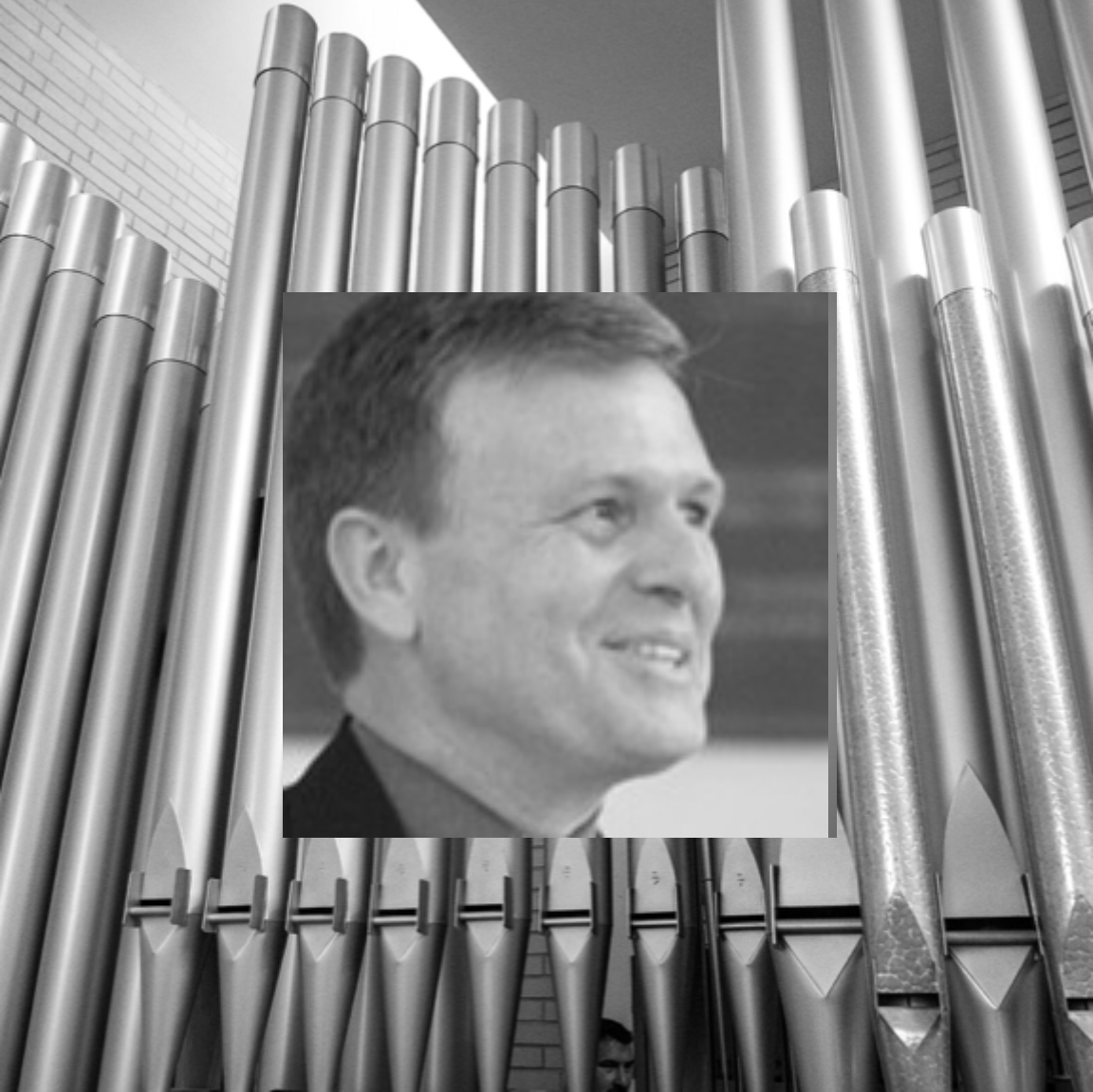 ty woodward (inset); first presbyterian church organ pipes (background)