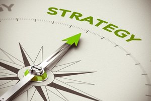 Financial advice graphic. An arrow pointing to the word strategy.