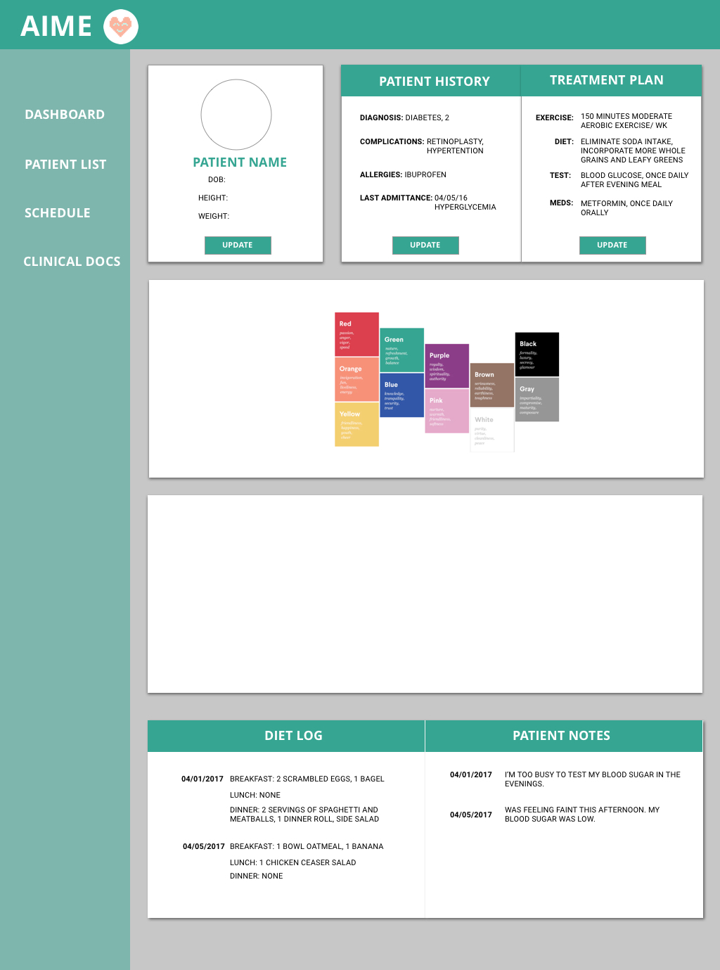 Hi-fi mockup color scheme 3. We chose to go with this color scheme and branding.