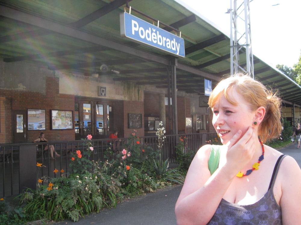 Nina, one of our hosts, outside the Poděbrady train station
