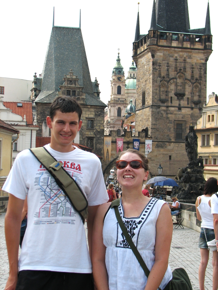 Alisha cheeses with Filip. Yes Filip is that tall (and yes Alisha is that short). The architecture in Prague is amazing, by the way. Interesting story: while walking through the city, I commented on how much I enjoyed the buildings and the history behind everything. Josefina and Nina acknowledged them very matter-of-factly and Filip said he finds it boring. However, I was asking Nina and Josefina about their desktop backgrounds on their laptop computers -- they were both pictures of beaches and I figured they were of some exotic place in Europe -- and I was very surprised at the answer. They were both pictures of Lake Michigan! Beauty truly is all around us, whether we realize it or not...