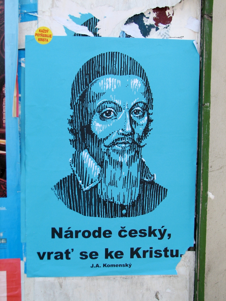 "I snapped a photo of what turned out to be ""Christian graffiti."" The man pictured is J.A. Komenský, a 17th century Czech religious icon and the words roughly translate to, ""Czech people, come back to Christ."" This is our prayer as we prepare to travel to the English camp. Please let it be your prayers, too."