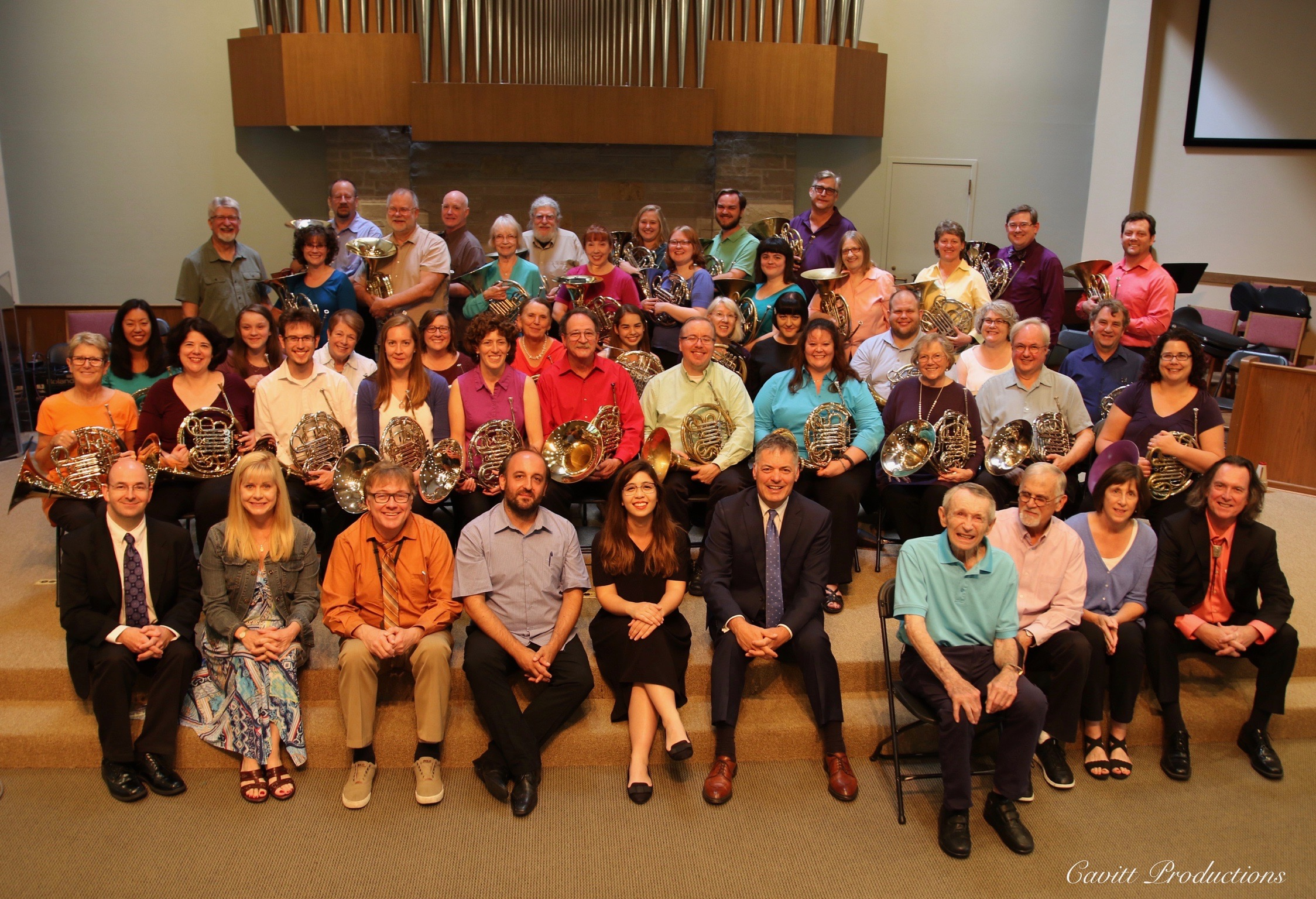 Members of the Twin Cities Horn Club with composers and current and former members of the Minnesota Orchestra horn section. Click for larger view. Photograph by  www.cavittproductions.com