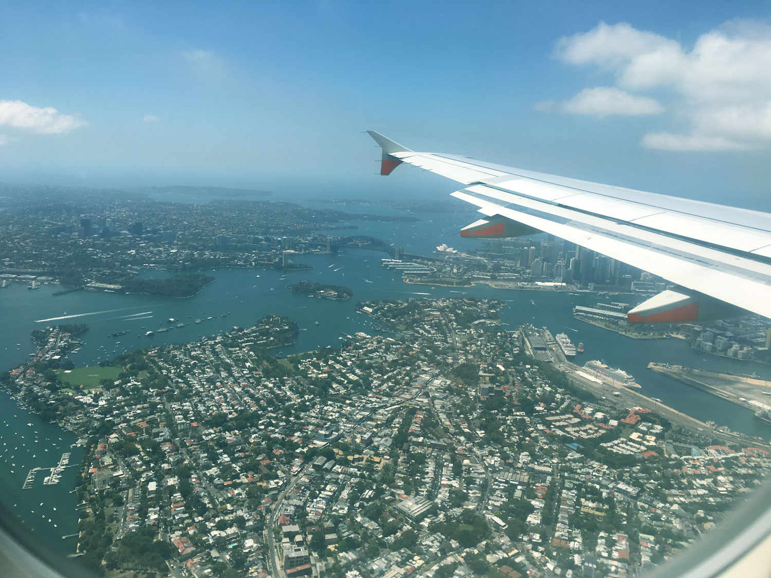 Flying over Sydney Harbour Bridge & Sydney Opera House