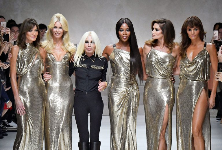 Original supermodels join Donatella Versace at Milan Fashion Week 2017 / Rex Features