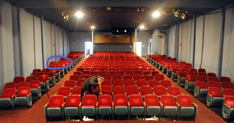 A fairly recent shot of the theater's interior. The circle shows where five year old me hid on the floor during a showing of JAWS.