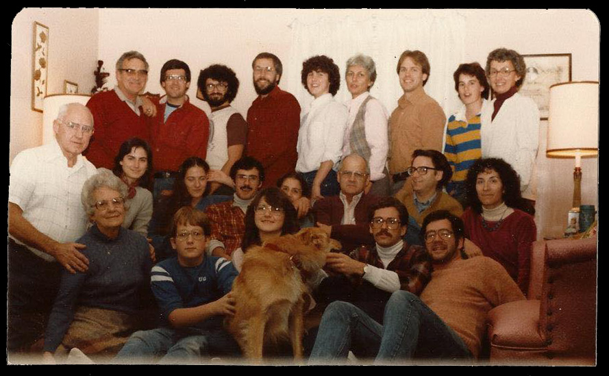 My maternal grandparents (left) and about 2/3 of their good Catholic army congregated in the formal living room on Thanksgiving circa 1982.I can't believe grammy allowed that dog- Foozie- in the living room. She practically made us wear hairnets in there but that for the years she fostered that dog it had carte blanche to shed everywhere. I'm seated on the floor at the left, between Gram and that damned dog. You can easily pick out my uncle Lou- he's clearly loathing the dog most of all. Look at my sister Nancy- she started wearing rugby shirts the moment she hit college;no one but me realized that was her coming out of the closet. Uncle Lou was a surgeon. He armed Grampy with a syringe and vials of penicillin and allergy meds. Grampy had no medical proclivities but he was fearless and that was enough. If any of my family needed antibiotics we rolled up our sleeves, Grampy screwed on the needle and then he jammed that thing in to the bone. I remember Nancy and Janet comparing bruises. Simpler times! It looks like my brother Dave is half in the bag and this was obviously the era my cousin Michael spent as a feral wolf-child.