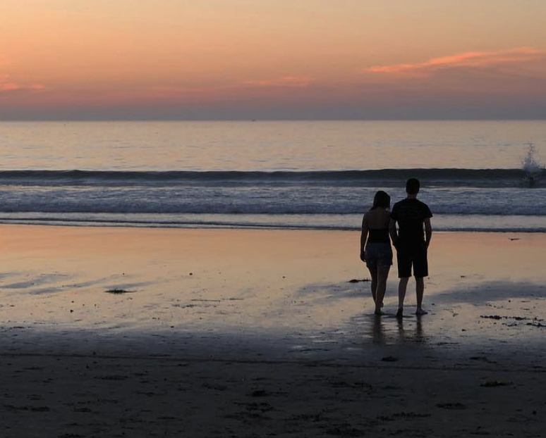 sunset.beach.walk