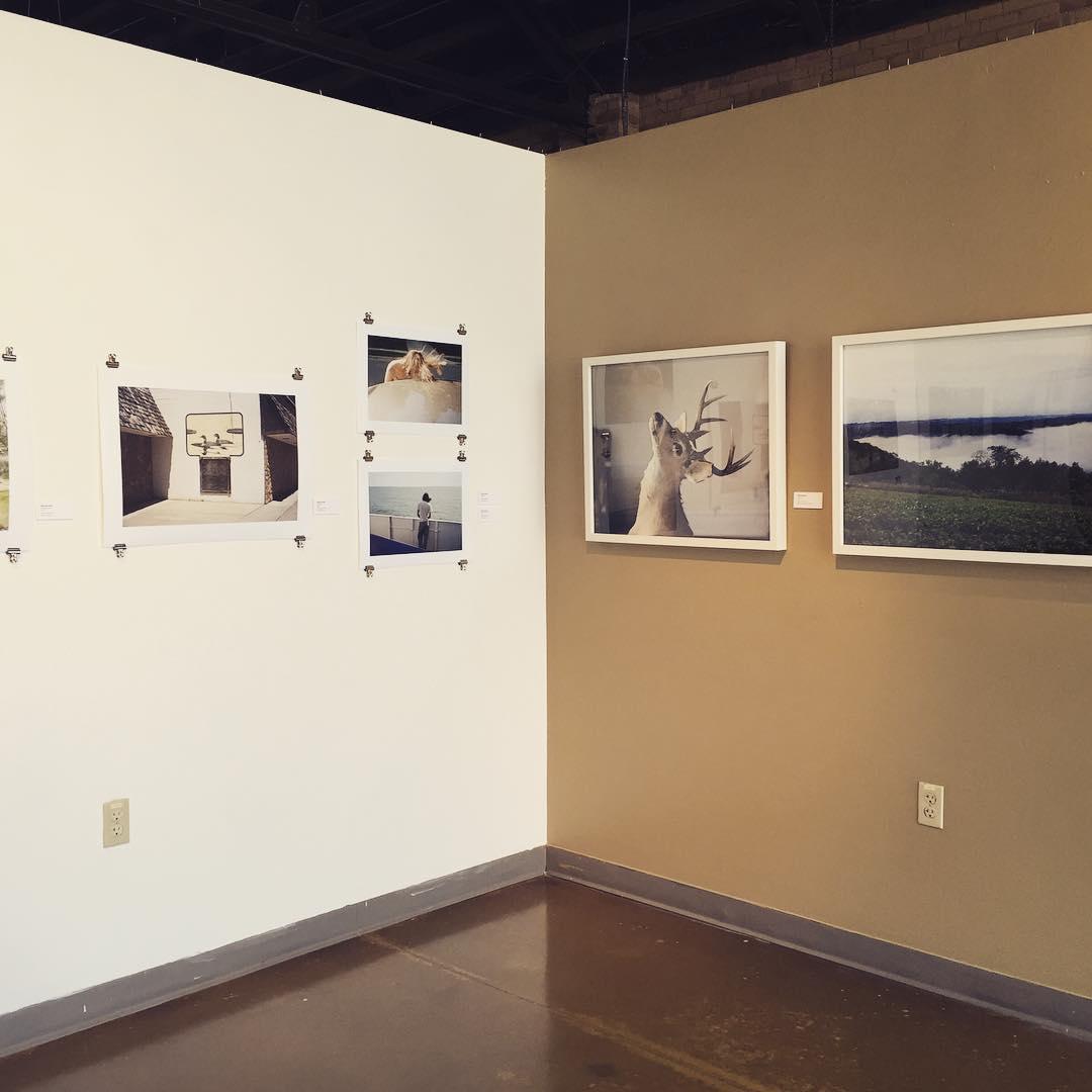 Installation view of Here & Away; Ethan Aaro Jones (left) and Barbara Diener (right).