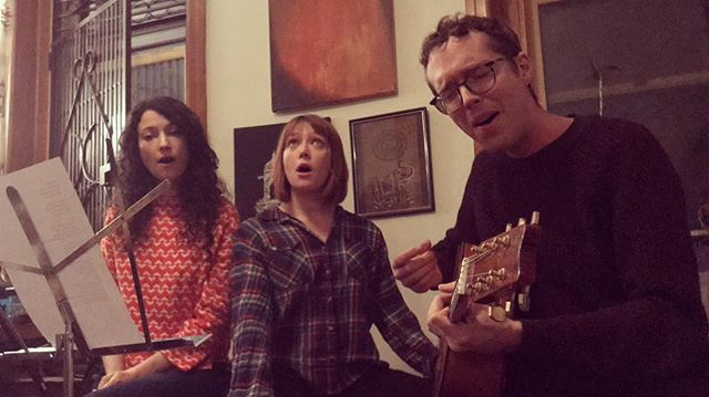 Belting out some high ones last night at a secret Brooklyn house show. Thanks to @music_mela and @angupangu for hosting.