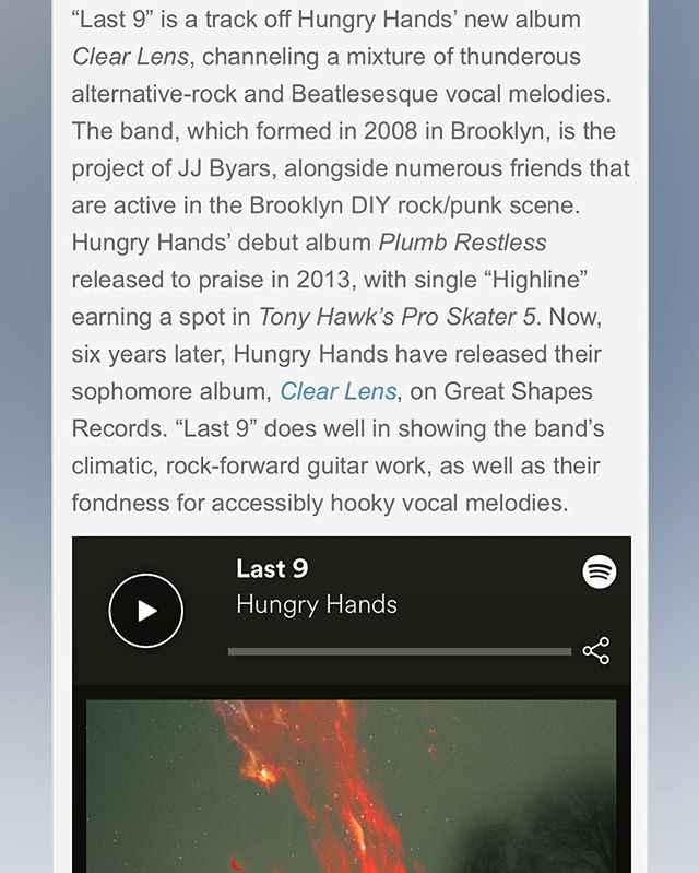 "Thank you @obscuresound for including my song ""Last 9"" from @hungryhandsmusic latest release in their ""Best of May 2019"" playlist and giving a wonderful review. Honored!"