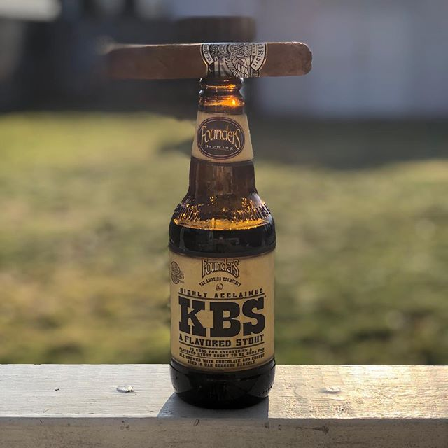 A picture of things to come. @foundersbrewing  #kbs #roughriderscigars