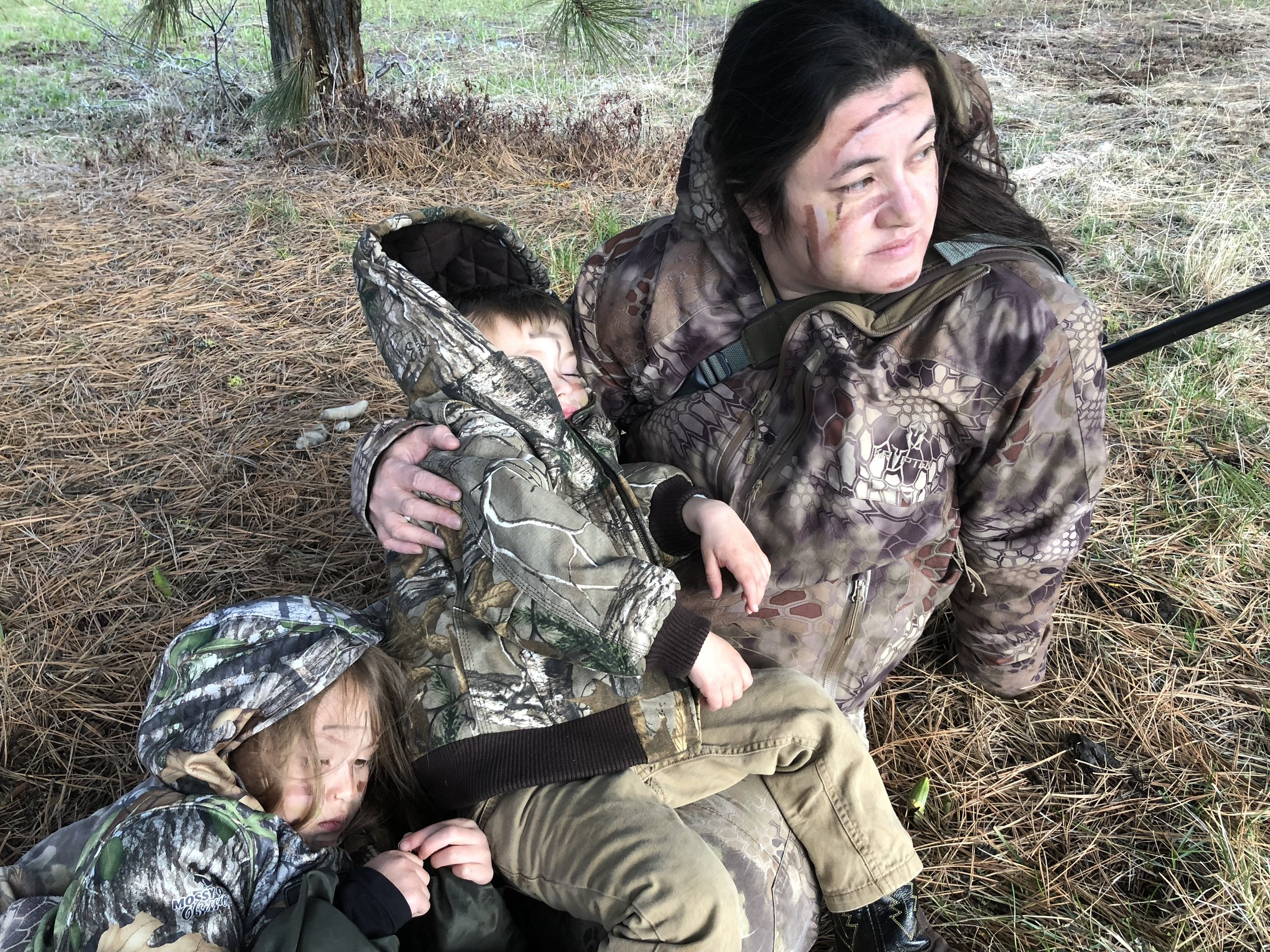 When the family hunting excursion turns into the nap that should have happened earlier in the day...