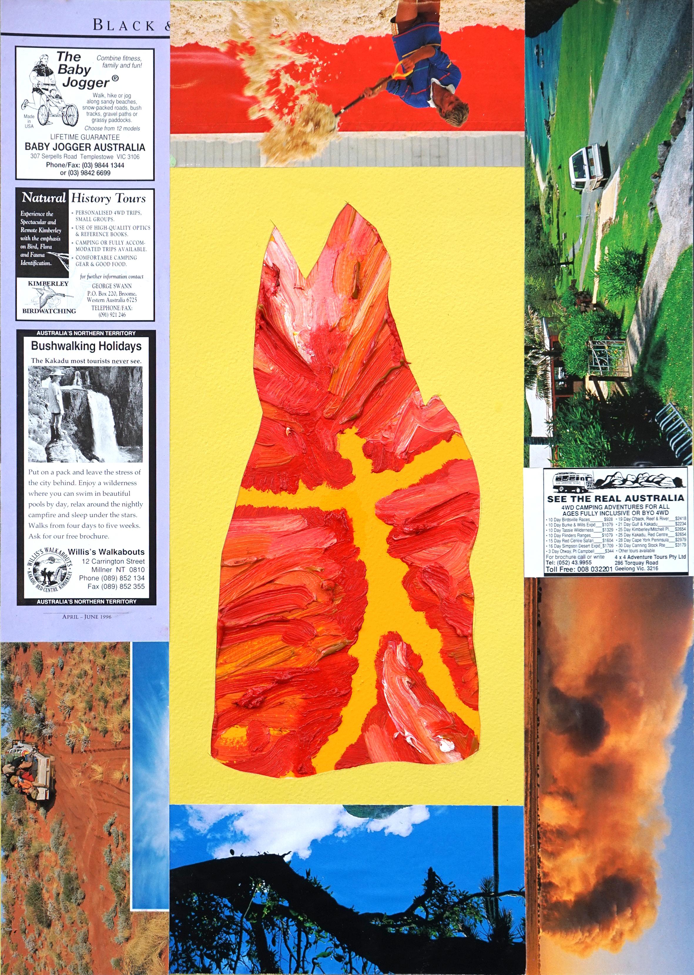 Untitled  2016  Oil, aerosol, magazine cut outs and PVA glue on paper  29.7 x 42 cm