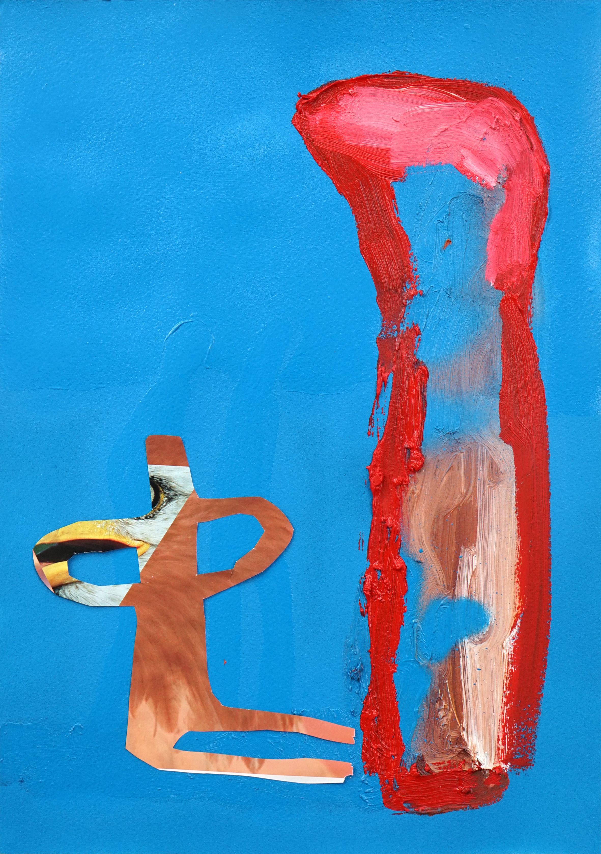 Untitled  2016  Oil, aerosol, magazine cut out and PVA glue on paper  29.7 x 42 cm