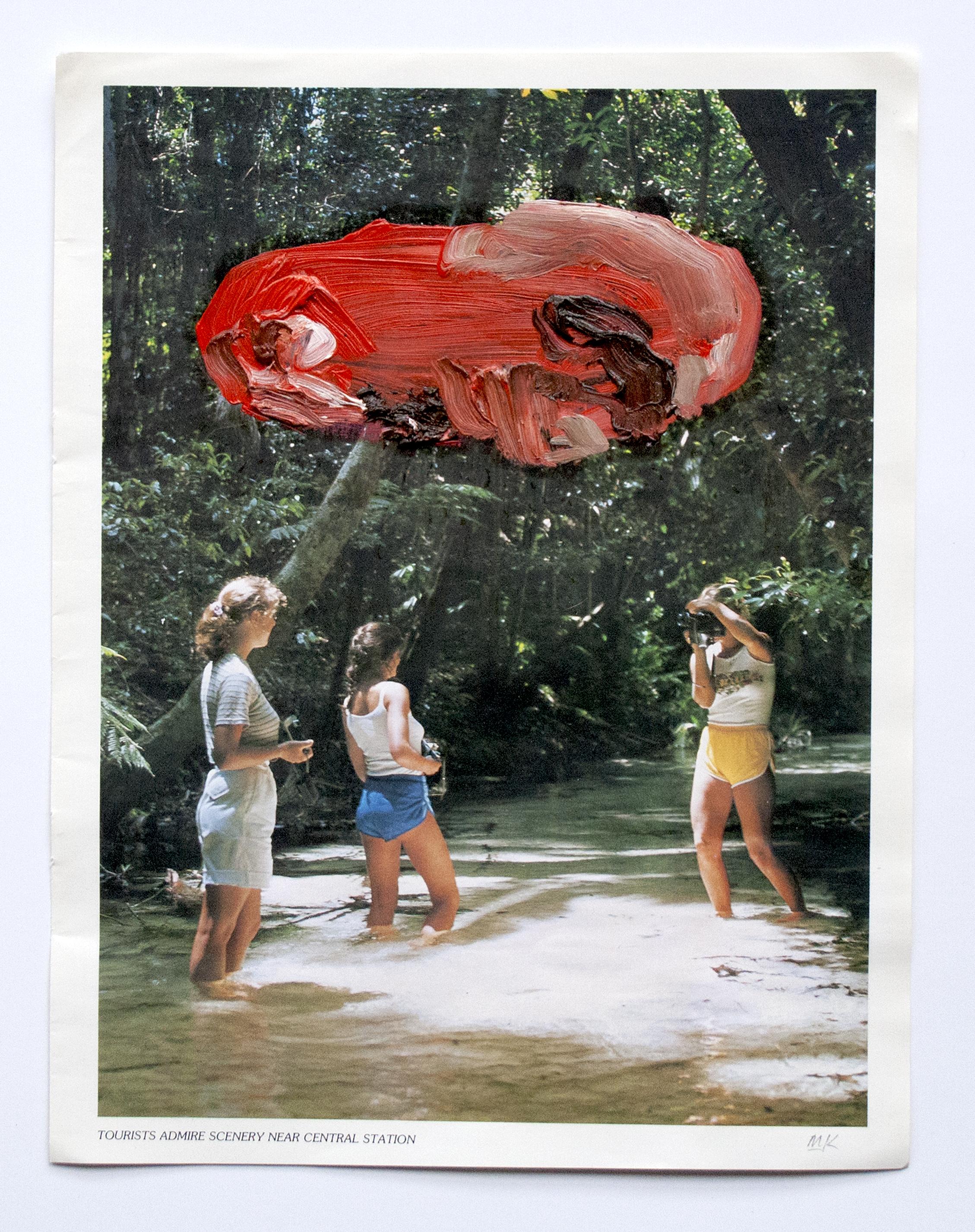 Tourists Admire The Scenery  2014  Oil and PVA glue on magazine  21 x 29.7 cm