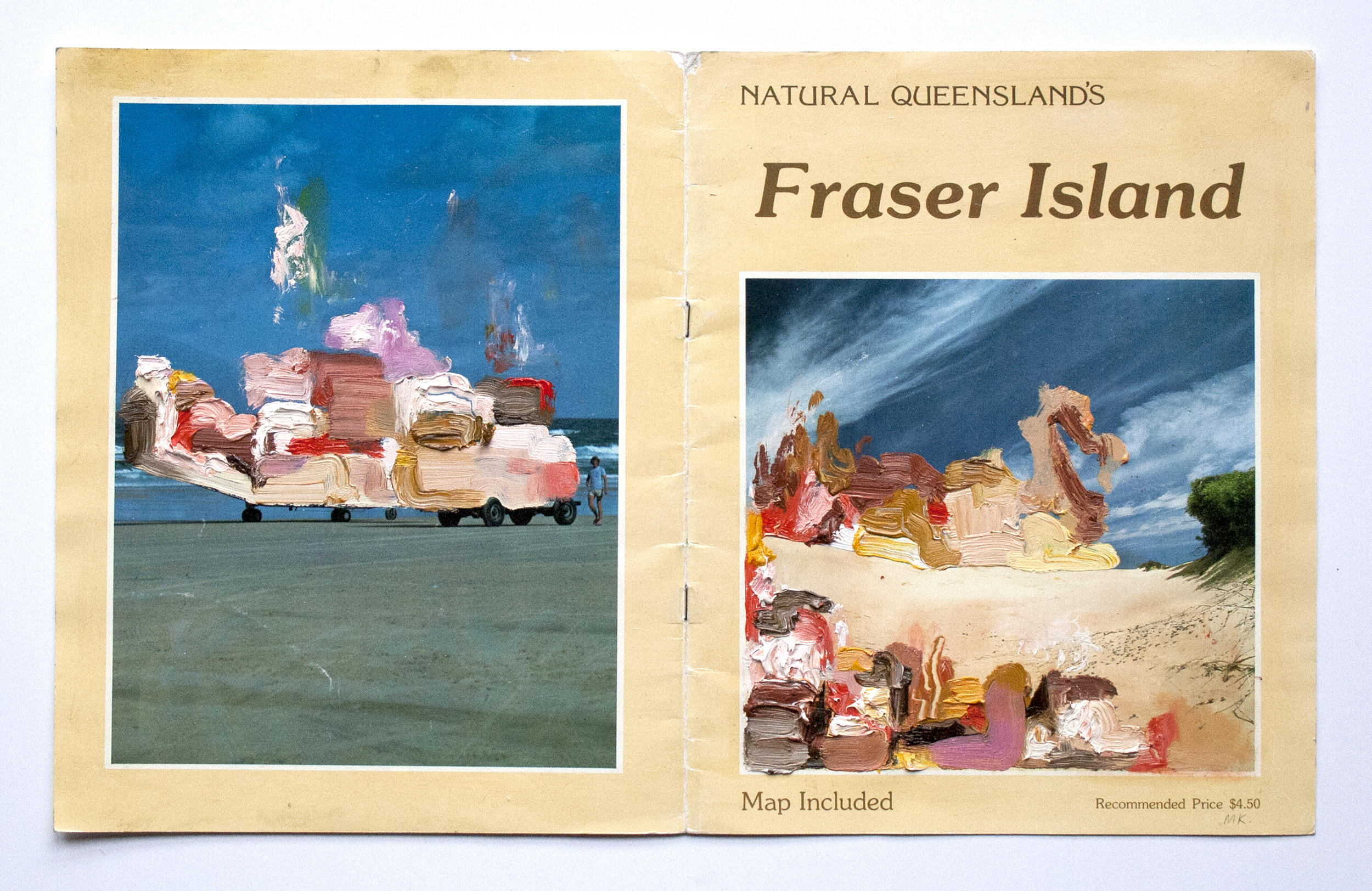 Fraser Island Double Spread  2014  Oil and PVA glue on magazine  42 x 29.7 cm