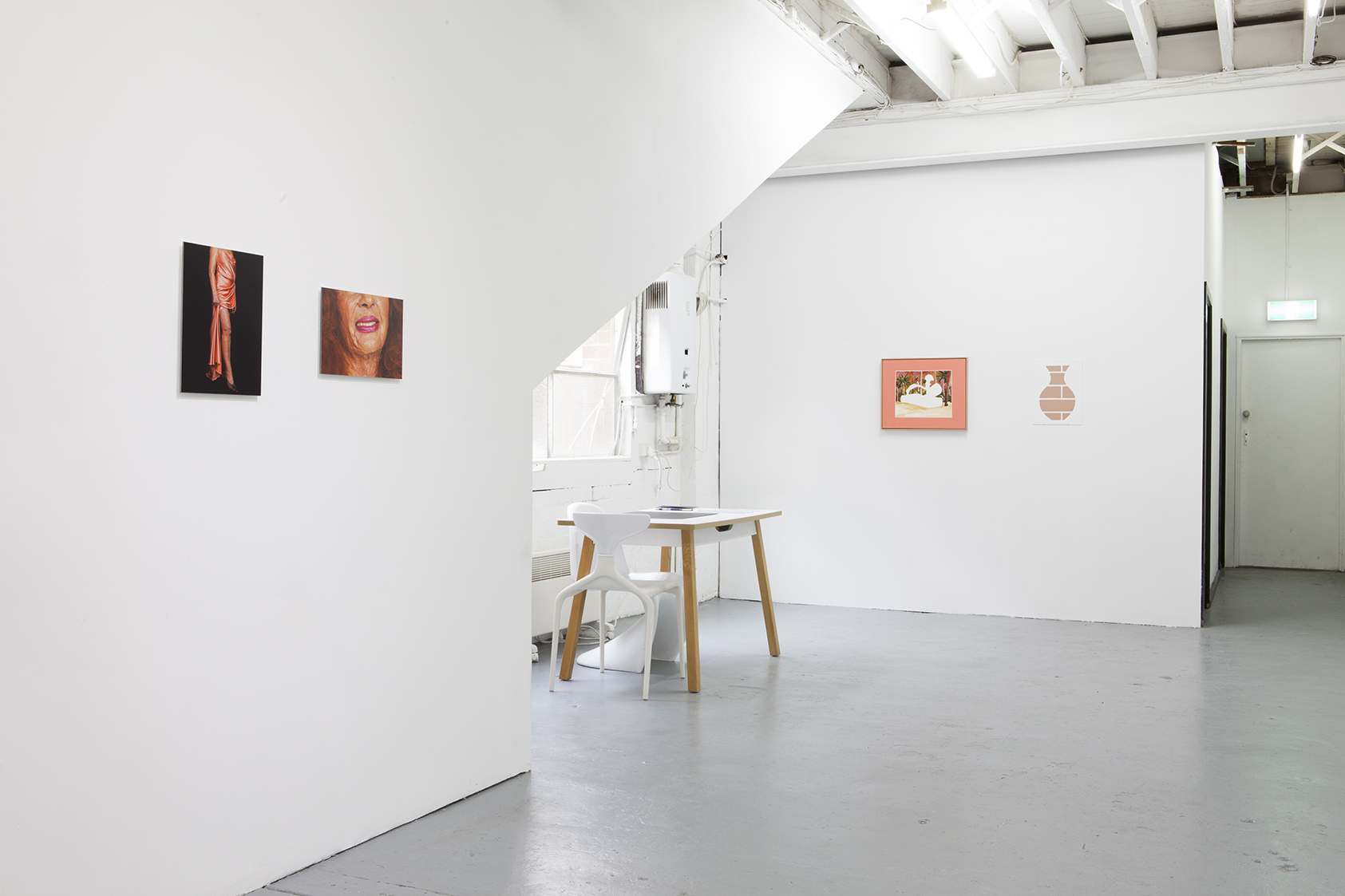 Installation shot featuring works by Phebe Schmidt and Darcey Bella Arnold  Photo courtesy LON Gallery