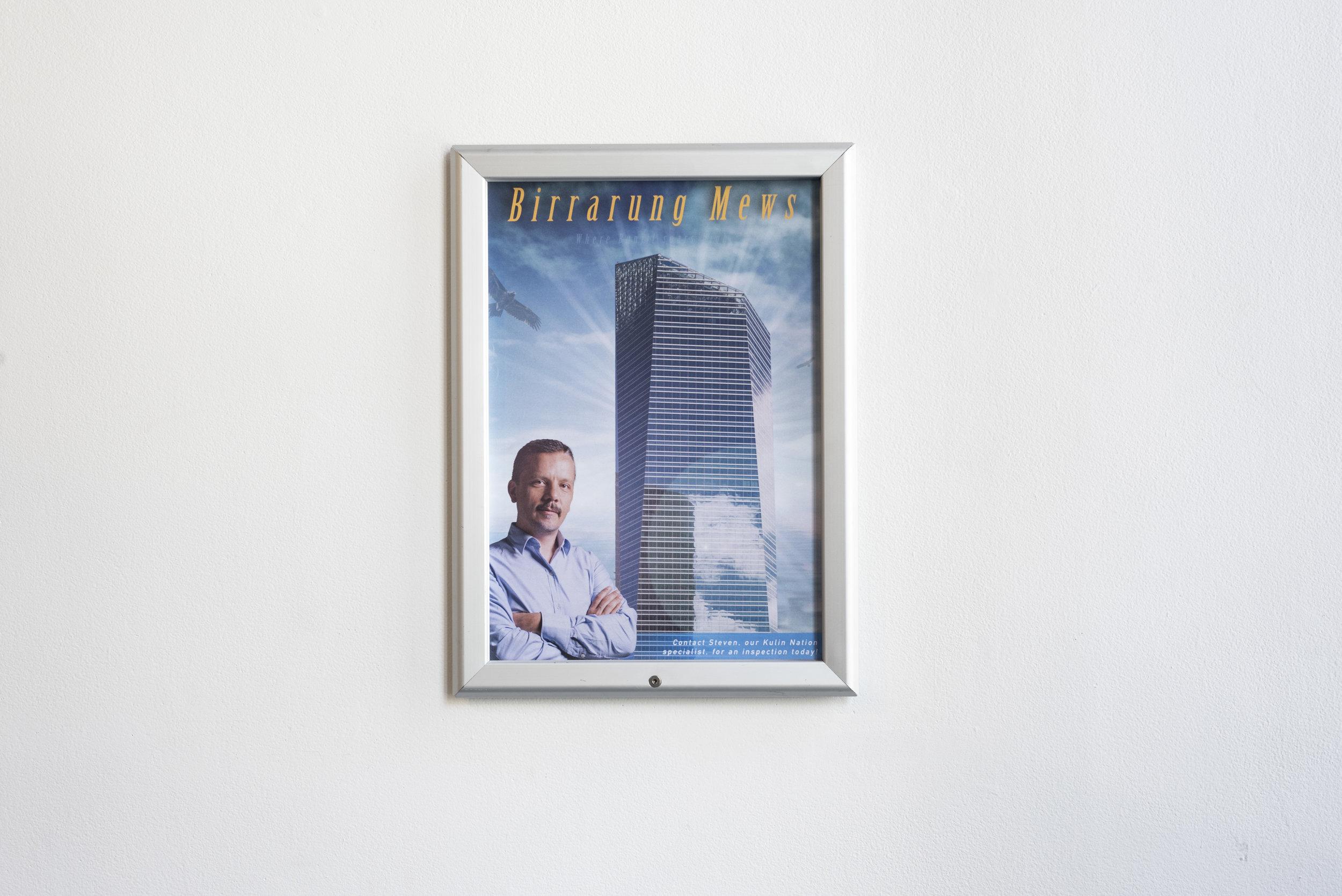 Steven Rhall  Birrarung Mews   Snap frame, poster  46 x 34 cm  2018  Photo by Aaron Claringbold