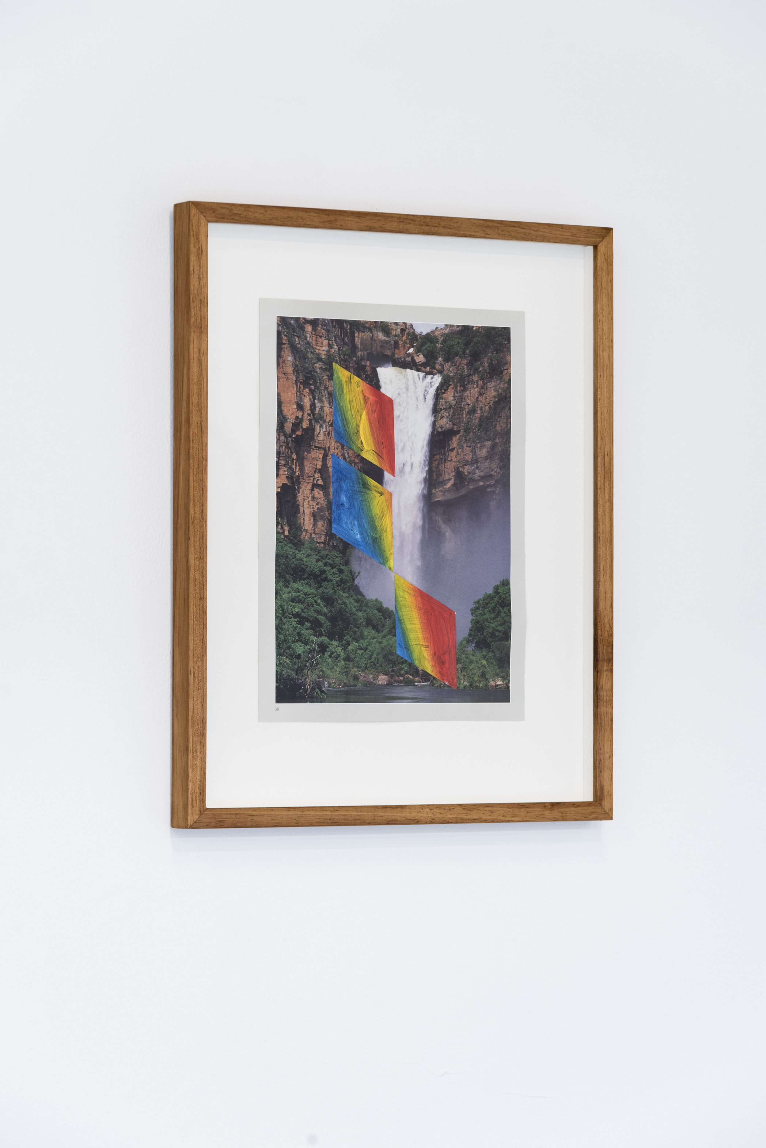 Maddison Kitching  At the End of the Rainbow #3  Oil and acrylic paint on page from Steve Parish's book Australia: The Gift  24.5 x 33cm  2018  Photo by Aaron Claringbold