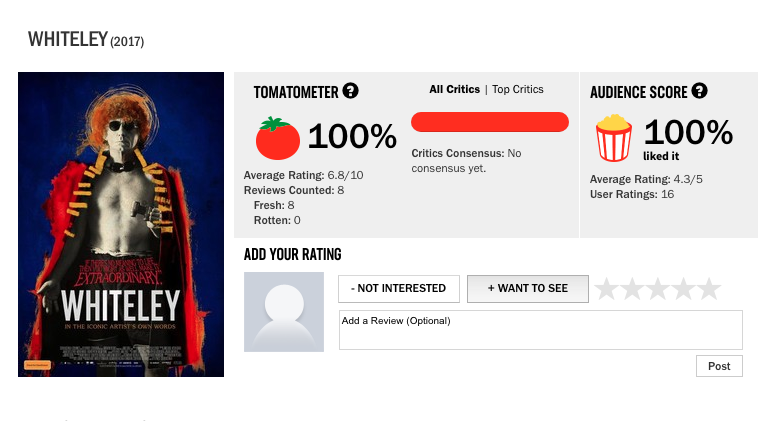 WHITELEY has earned an enviable 100% FRESH rating on review aggregator,  ROTTEN TOMATOES