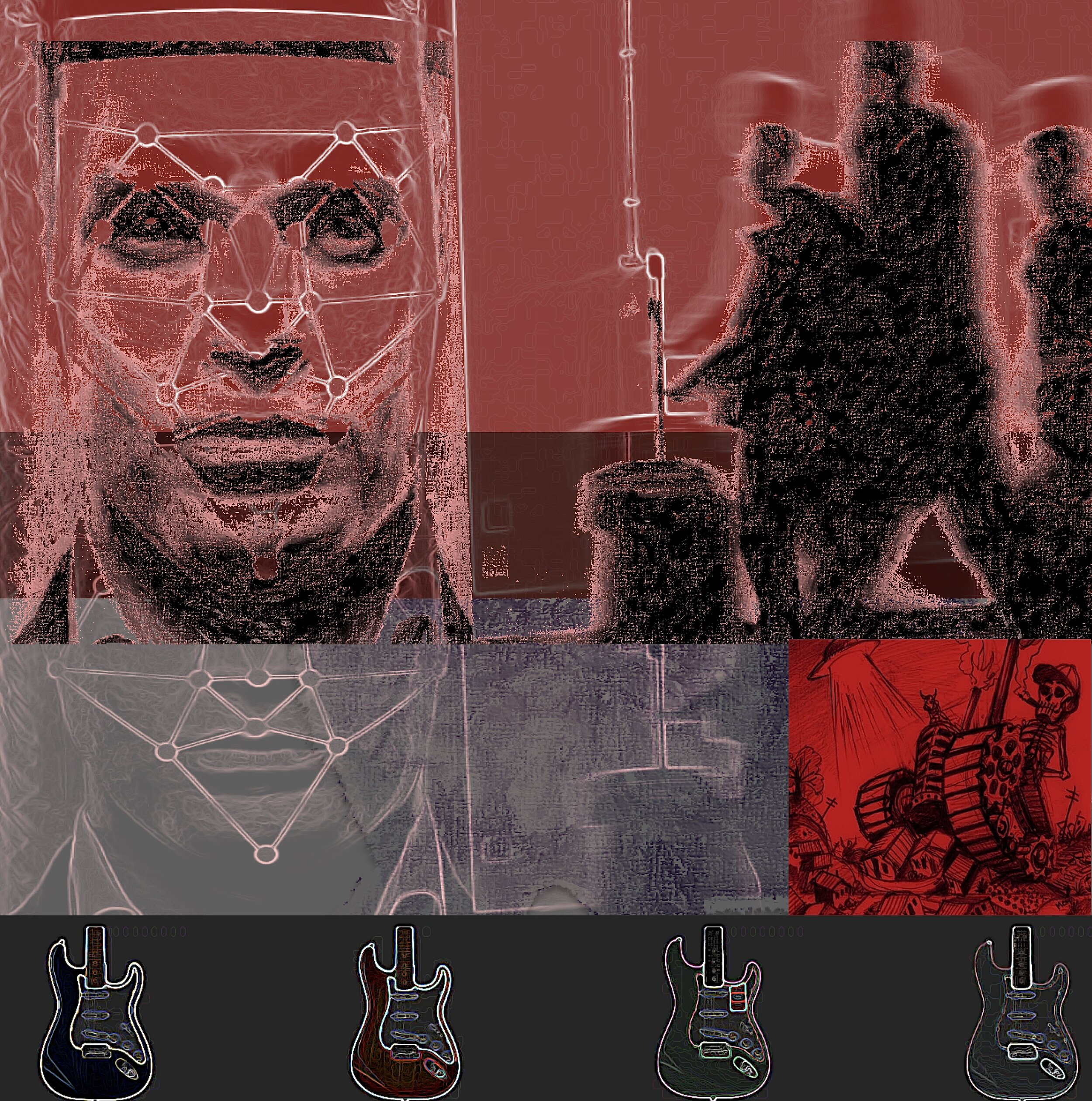 """- Facial Recognition (for Ry Cooder)6""""x 6"""" digital print"""