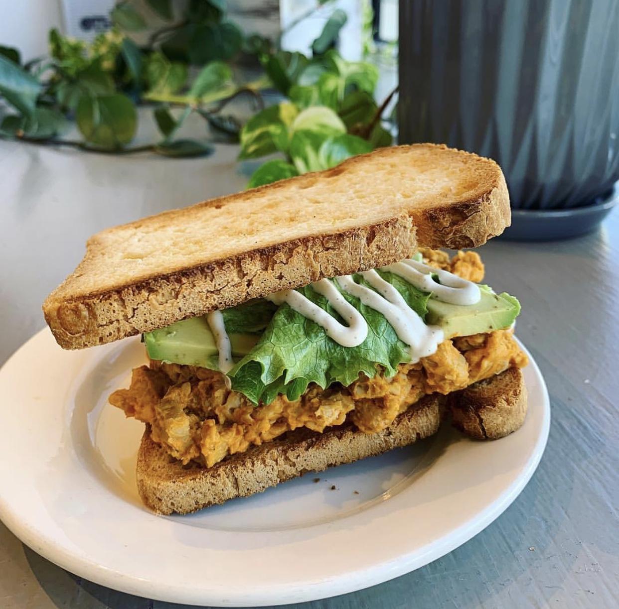 Buffalo Tempeh Sandwich w/ Avocado & Cashew Ranch on Gluten Free Bread