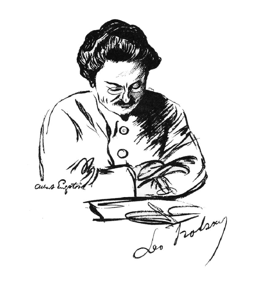 """Leon Trotsky, Lev Trotskij, Лев Дави́дович Тро́цкий"" by Albert Engström, 1923 via Wikimedia Commons"