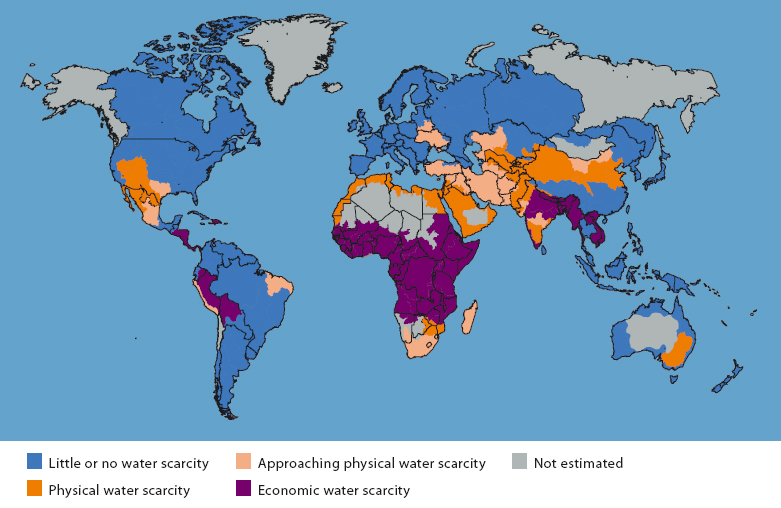 Physical and Economic Water Scarcity    The map above highlights the fact that many developing countries (predominantly in Africa)are experiencing economic water scarcity. This means that they lack the infrastructure or human capacity to meet water demands regardless of water availability.  Source: World Resources Institute /Aqueduct (used with permission)
