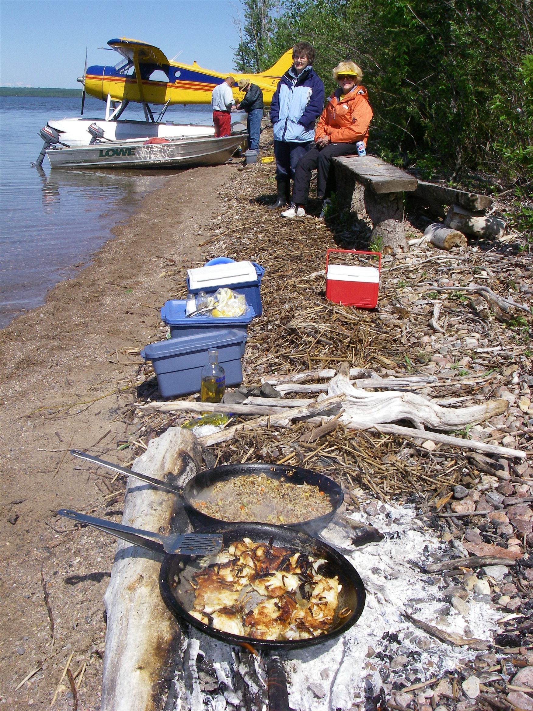 A delicious shore lunch being prepared