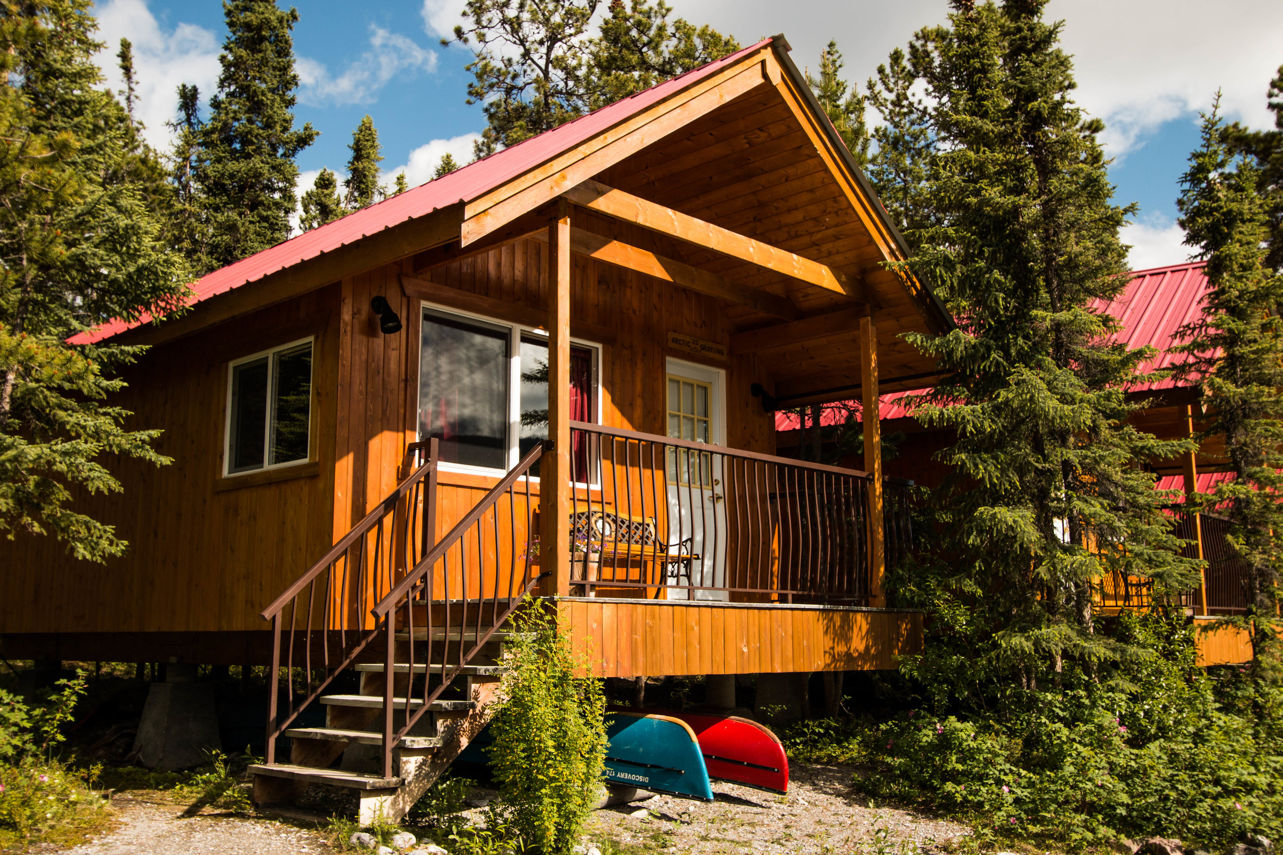 One of our Lakeshore Chalets on the shore of magnificent Muncho Lake