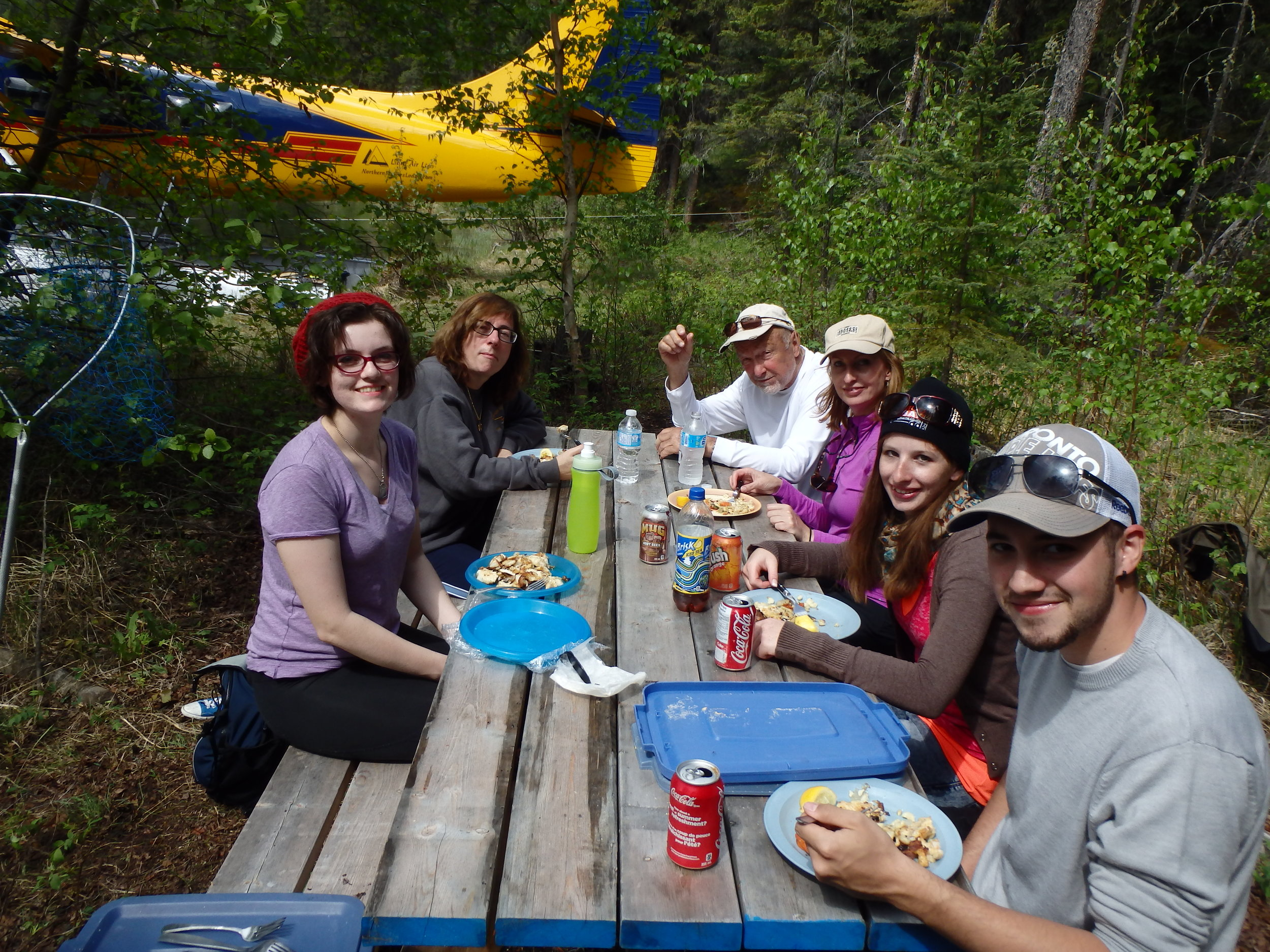 Enjoying shore lunch