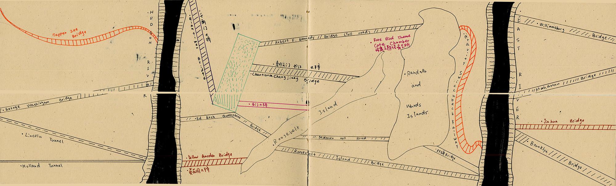 River Book I(Top), River Book II(Bottom), Page 7   Bridges Scene Bridges artificially connect ravines.