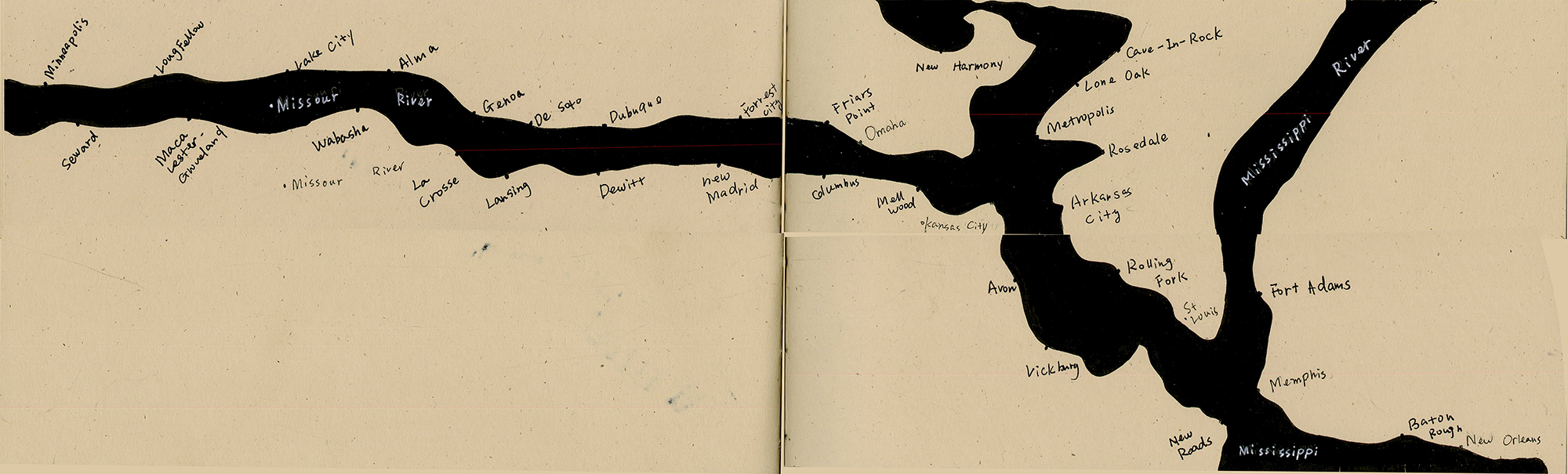 """River Book I(Top), River Book II(Bottom), """"The Five Lakes"""" of the United States and China"""