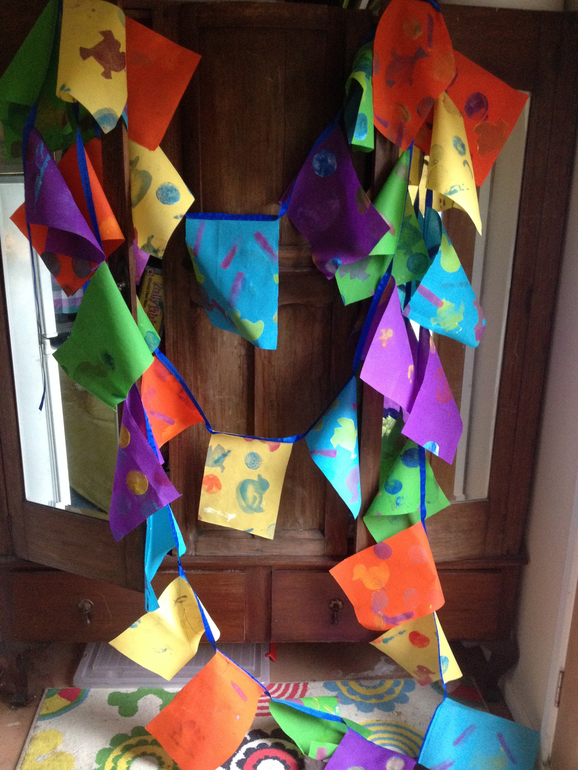The festival bunting. We've made 50 metres of this!