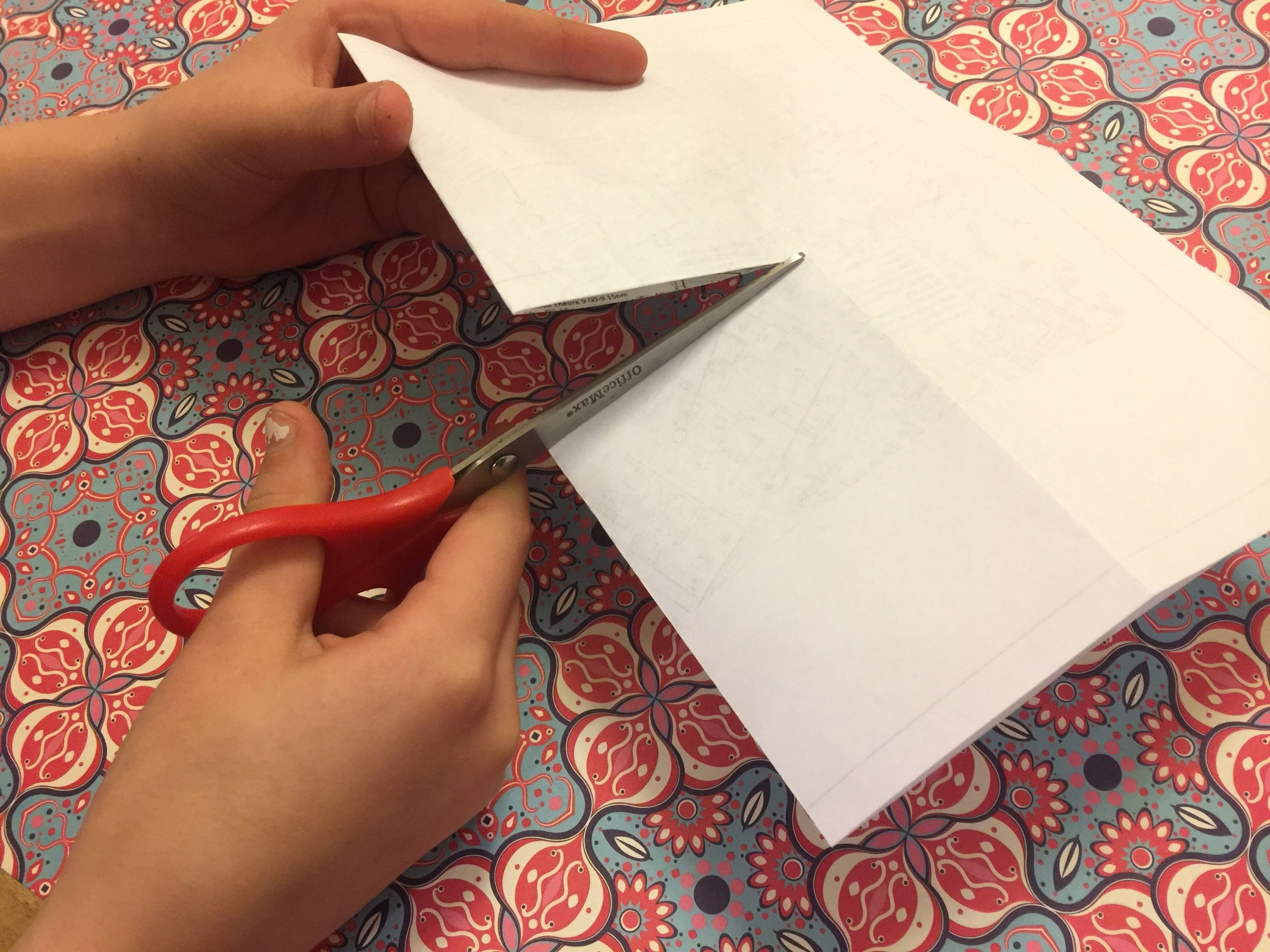 … then fold in half width ways. Cut through the folded edge to the crease.