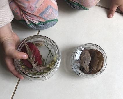 "Coffee jar lids make a great ""mini treasure case"" for little hands"