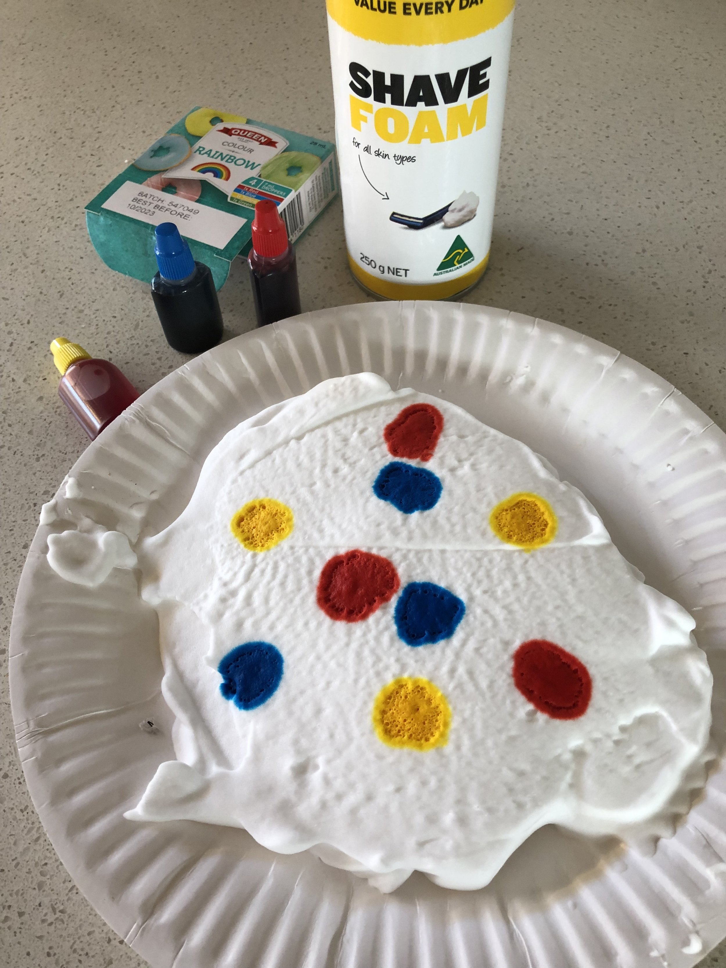 These small squirt bottles of food dye were ideal for this activity.