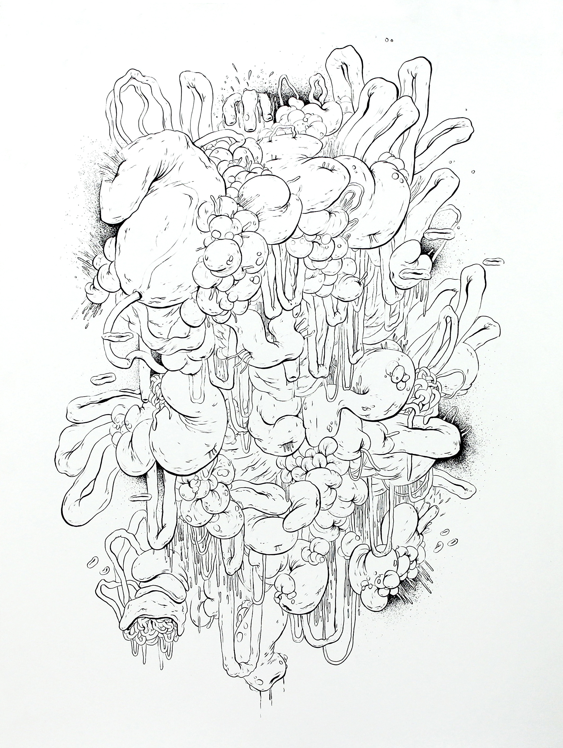 Mish-Mash No. 2,  ink on paper, 30 x 25.5 in