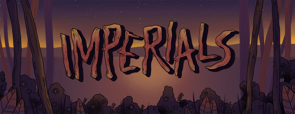 Sticker & header design for the band Imperials, from Philadelphia PA