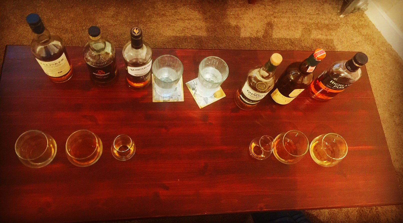 This is a blind taste test Ellen and i did at my place, which was hella fun! (I encourage you to try a blind tasting with your spirit of choice!)